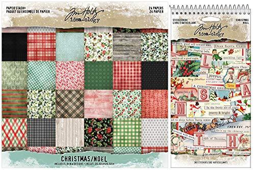 Tim Holtz 2020 Holiday - Christmas 8x8 Mini Stash Paper Pad and Christmas Sticker Book - 2 Items