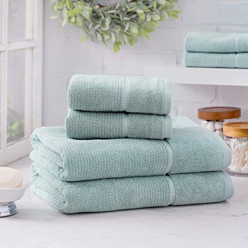 Welhome Anderson Luxurious 100% Turkish Cotton 6 Piece Towel Set   Lilac   Rib Textured   Thick & Plush   Soft & Absorbent   Hotel & Spa Bathroom Towels   600 GSM   2 Bath 2 Hand 2 Wash Towels