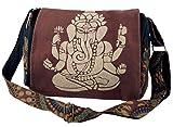 GURU SHOP Bolso de Hombro, Bolso Hippie, Bolso Goa Ganesha - Marrón, Unisex - Adultos, Algodón, Tama�o:One Size, 23x28x12...