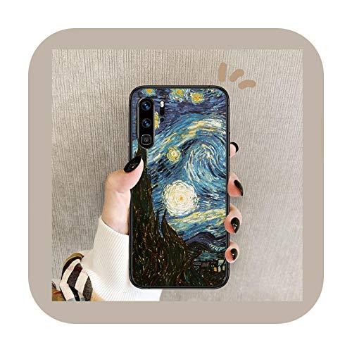 Pintura al óleo van Gogh teléfono caso para Huawei P Mate 10 20 30 40 Lite Pro smart Z 2019 nova 5t negro Shell Fashion Cell Trend-8-Huawei p30