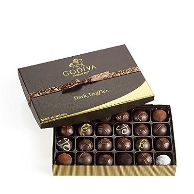 Godiva Chocolatier Assorted Truffles Gift Box, Dark Chocolate, 24 pc
