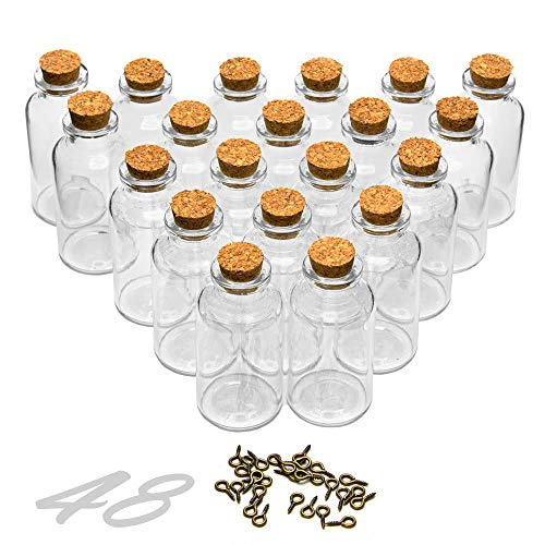 ARTESTAR Mini Botellas de Cristal,48 frascos de Vidrio tapon Corcho,Botes Cristal pequeños,Tubos De Ensayo Cristal, Botellas De Deseo Mensaje, Deseo De Fiesta 25ml 30 x 60mm
