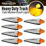 Partsam 7PCS 17 LED Torpedo Cab Lights Chrome Amber LED Top Cab Marker Roof Running Lights Assembly Compatible with Kenworth/Peterbilt/Freightliner/Mack//International Paccar Heavy Duty Trucks