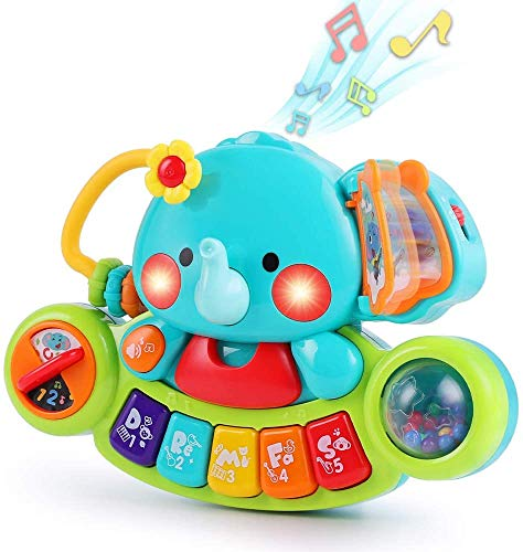 LUKAT Baby Musical Elephant Toys, Toddlers Piano Keyboard Toy with Lights & Sound Music Activity Center Educational Learning Gifts for 6 9 12 18 24 Months Infants 1 2 Year Olds Kids Boys & Girls