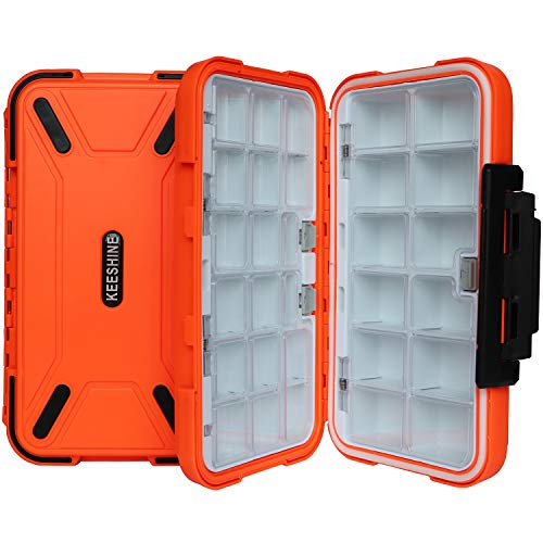 KEESHINE Waterproof Fishing Tackle Box, Storage Box, Plastic Fishing Lure Box, Removable Grid Storage Jewelry Organizer Making Kit Container for Lure Hook Beads Earring Tool(Orange)