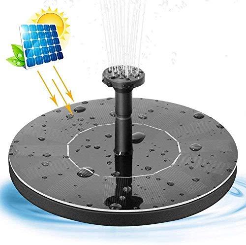 Bonheur Solar-Gartenteichpumpe 2.4W Wasserschwebe vertikales Vogelbad Springbrunnenpumpe mit 4 Düsen eingebauten Batterie for Teichbecken Terrasse