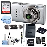 Canon PowerShot ELPH 180 Digital Camera (Silver) + 64 GB Memory Card + Point & Shoot Camera Case + USB Card Reader + LCD Screen Protectors + Memory Card Wallet + Cleaning Pen + Accessory Kit