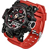 Mens Military Watch Dual Display Waterproof Sport Digital Big Wrist Watch Outdoor Tactical Red Watch