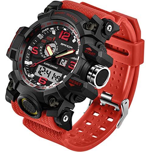 Relógio masculino para esportes ao ar livre à prova d'água, multifuncional, visor duplo, cronômetro, militar, relógio de pulso tático, Vermelho