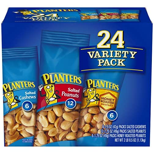 PLANTERS Variety Packs (Salted Cashews, Salted Peanuts & Honey Roasted Peanuts), 24 Packs - Individual Bags of On-the-Go… 3