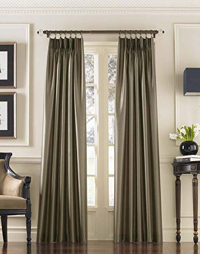 "Curtainworks Marquee Faux Silk Pinch Pleat Curtain Panel, 30 by 132"", Bronze"