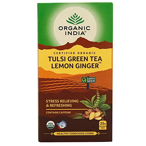 ORGANIC INDIA Tulsi Green Tea Lemon Ginger - 25 Tea Bags