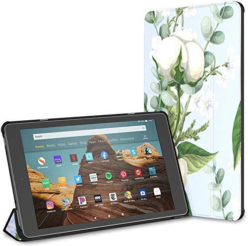 Funda para Tableta de Puro algodón Flower Bouquet Fire HD 10 (9a / 7a generación, versión 2019/2017) Funda Impermeable Kindle Fire Funda para Kindle Fire Auto Wake/Sleep para Tableta de 10,1 pulgad