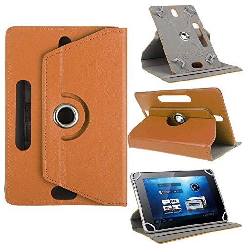 Funda universal para tablet de 10 pulgadas, con soporte universal para Tab de 10 pulgadas, rotación de 360 grados, varios ángulos de visión, efecto piel marrón