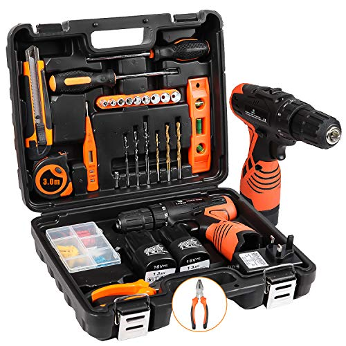 Cordless Hammer Drill Tool Kit SUPSOO 24Pcs Household Power Tools Drill Set with 16.8V Lithium Cordless Drill Driver Claw Wrenches Pliers for Home Office Shed Garage Bike Car Electronics Test Repair