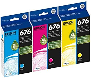 Genuine Epson 676XL DURABrite Ultra Color (Cyan,Magenta,Yellow) Ink Cartridge 3-Pack (Includes 1 each of T676XL220,T676XL320,T67