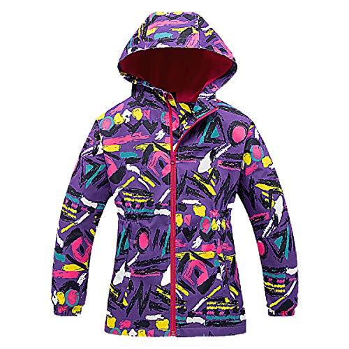 L PATTERN Chaquetas para niña cortavientos de moda serie girl con capucha y mangas con estampado floral, Flor de Camuflaje Púrpura, 7-8 Años