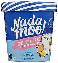 Nadamoo Diary Free Frozen Dessert, Birthday Cake And Cookie Ice Cream, 16 oz (Frozen)