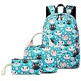 Mymiula Backpack for School Girls Boys Teens Bookbag Set Cute Cat Kids School Bag 15 inches Laptop Daypack
