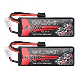 GOLDBAT 2S LiPo RC Battery 7.4 V 80C 6200 mAh RC Battery Hard Case with TRX Connector for RC Car, Car Evader Bx Car Truck, RC Aeroplane, RC Helicopter, RC Hobby (2 Packs)