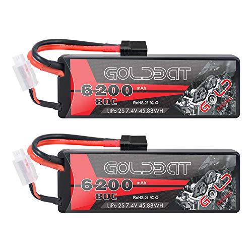 GOLDBAT 2S LiPo RC Batería 7.4 V 80C 6200 mAh RC Batería Estuche rígido con Conector TRX para Auto RC, Car Evader Bx Car Truck, Avión RC, Helicóptero RC, Hobby RC (2 Paquetes)