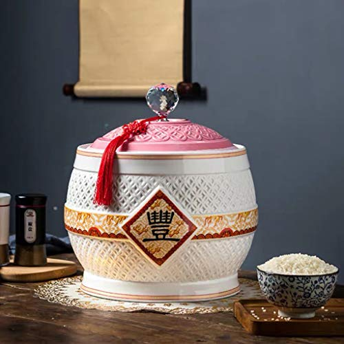Retro Ceramic Cereal Storage Container Traditional Chinese Porcelain Grain Dispenser Suitable for Cereal, Flour, Sugar, Coffee, Rice, Nuts, Snacks, Pet Food,Tea (Color : B, Size : 3KG/6.6LB)