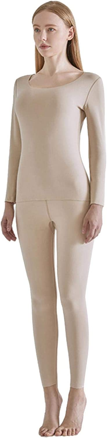 Womens Thermal Underwear Set Ultra Soft Crew Neck Long John Base Layer Tops & Bottoms for Outdoor Sports