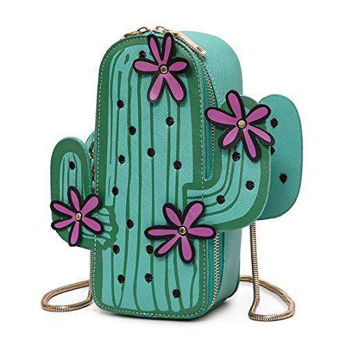 Timagebreze Damen Kaktus Geformt Pu Leder Umhaenge Tasche Niedlich Brieftasche Schulter Kette Tasche (Gruen)