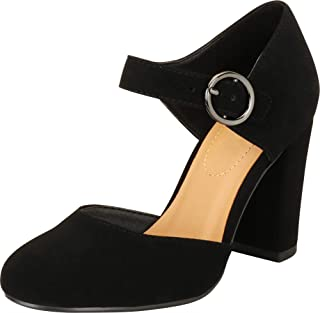 Cambridge Select Women's D'Orsay Mary Jane Chunky Block Mid Heel Pump