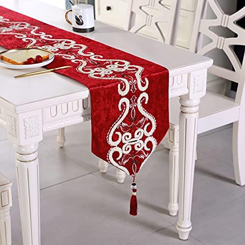 Red pattern flock velvet embroidered tassel home decorative party gift table runner for christmas