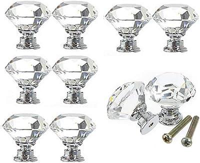 4 Pzs Pomos de Cristal para Armario Diamante Pomos para Muebles Tirador de Puerta de Cristal Transparente para Caj/ón Perilla del Caj/ón para Alacena Gabinetes Cristalino Perilla con Tornillos