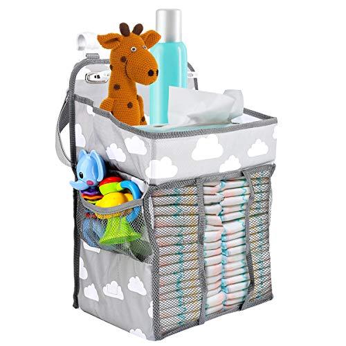 Zwini Baby barnkammare organisatör bärbar hängande blöja caddie organiserare multifunktionell blöja blöja leksaker förvaringsväska för skötbord, spjälsäng, lekrum, barnvagn eller vägg