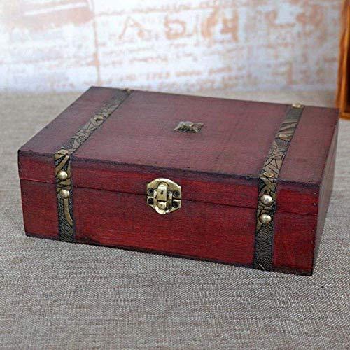 ZXDFG Esculturas Arte Cajas Vintage Caja De Almacenamiento De Madera Cerradura De Metal Caja del Cofre del Tesoro Escritorio De Madera Misceláneas Organizador Contiene Estatuas