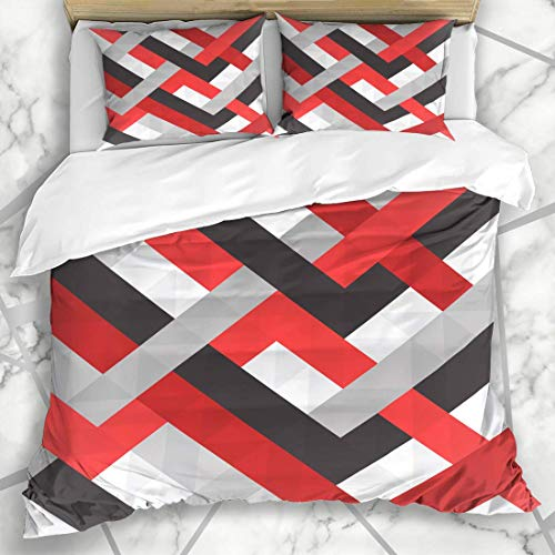 HARXISE Ropa de Cama Funda nórdica Creativo Negro Abstracto Rojo Blanco Patrón Triángulo Gris Plano Microfibra Conjunto de Tres Piezas de Varios Patrones Personalizados Funda de edredón 140 * 200