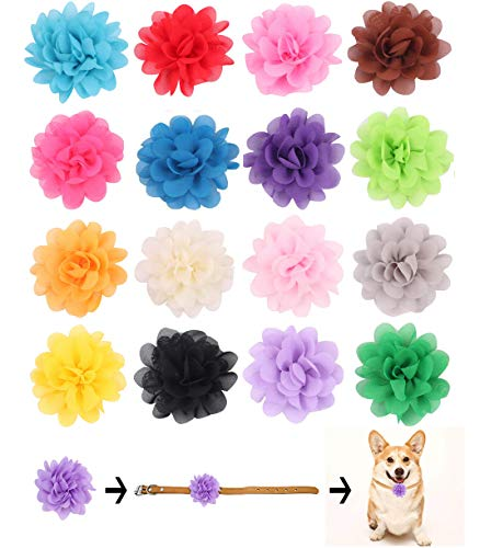 BIPY 16PCS Dogs Collar Flowers Collar Bows Puppies Cats Collar Charms Adjustable Accessories Slides Detachable Grooming Attachment for Costume Birthday Wedding Festival
