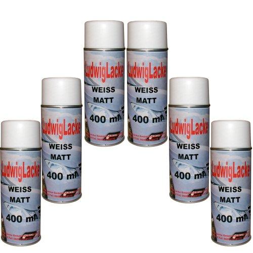 6 Lackspray Weiss matt 400 ml je Spraydose
