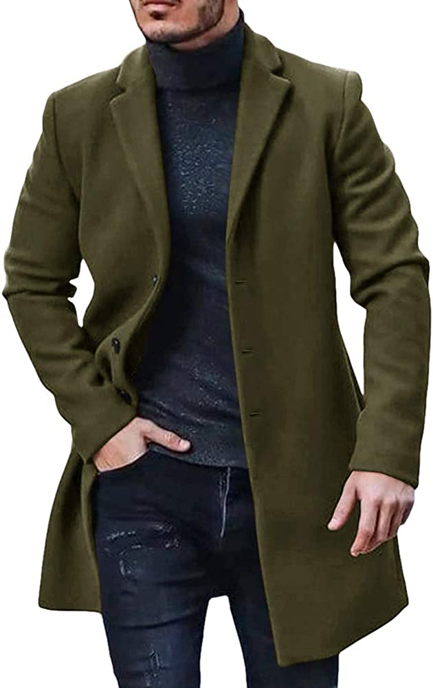 Gafeng Mens Single Breasted Trench Coat Notched Lapel Pea Coat Slim Fit Wool Blend Long Winter Outwear