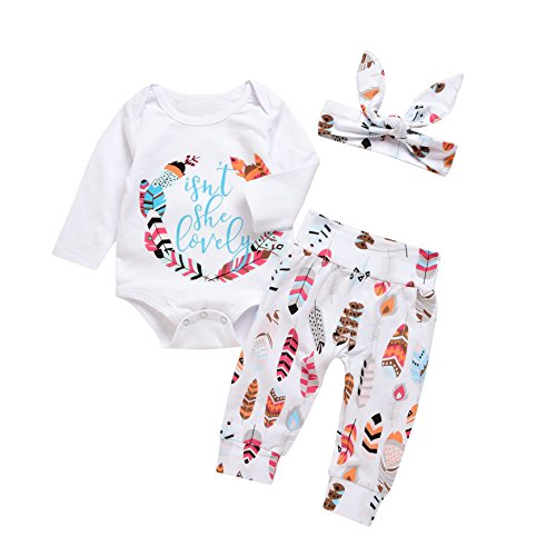 MEKILYN 3Pcs Baby Boy Girls Print Long Sleeve Letters Romper+Leaves Pant+Bunny Headband Winter Outfit (0-3 Months, White)