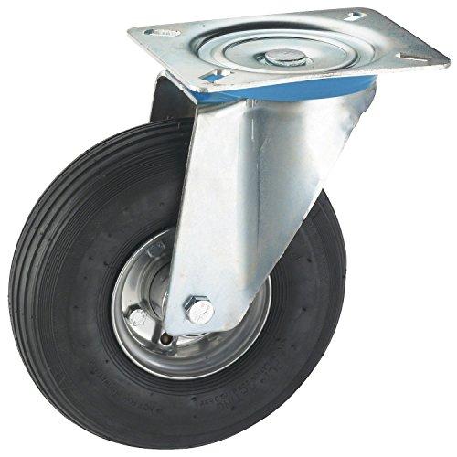 Dörner + Helmer 741102Rueda Giratoria Con Chapa de acero Llanta Neumático de aire 200x 50mm/Placa 140x 110mm