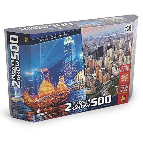 Quebra-cabeças 500 Peças Duplo: Skylines Cosmolitas - Hong Kong e New York