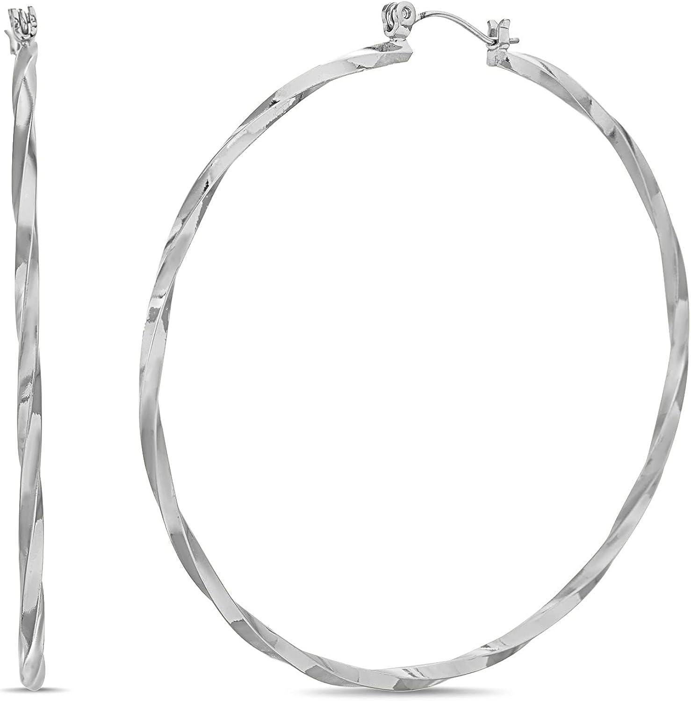 Steve Madden 63mm Twisted Hoop Earrings for Women
