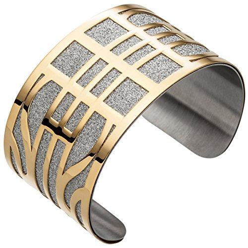 JOBO Armspange / offener Armreif Edelstahl breit gelbgold farben beschichtet Armband