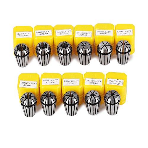 Craftman168 ER-Spannzangen-Set Bohrfutter, ER16 Spannzange 1 – 10 mm, ER-16 Federzange für CNC-Gravurmaschine und Fräsdrehmaschine, Werkzeughalter, 11 Teile