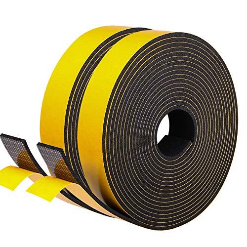 Moosgummi Selbstklebend Dichtungsband 25mm(B) x3mm(D) für Fenster Schaumstoffband Türdichtung Gummidichtung für Kollision Siegel Schalldämmung Gesamtlänge 10M (2 Rollen je 5m lang) Schwarz