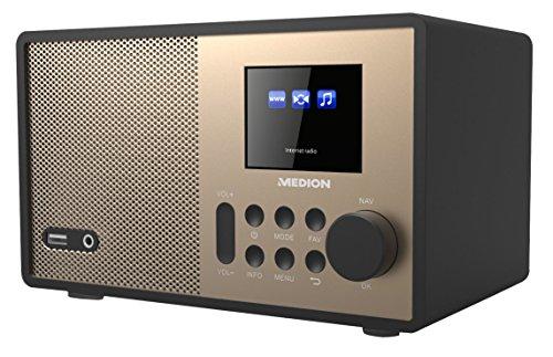 Medion E85059 MD 87559 WLAN-Internetradio (6 cm (2,4 Zoll) TFT Farb-Display, 40 Speicherplätze, Holzgehäuse, USB, AUX) Champagner/schwarz
