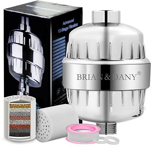 BRIAN & DANY 12-stufige Hochleistungs Duschfilter mit 2 Kartuschen – für alle Duschkopf und Handdusche – entfernt Chlor, Schwermetalle, Verunreinigungen & unangenehme Gerüche