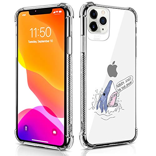 Case Compatible for iPhone 11 Pro Max Case Shark Open Mouse Pattern Design Soft TPU Bumper Shockproof Clear Cover Phone Case for iPhone 11 Pro Max Case 6.5 Inch (2019)