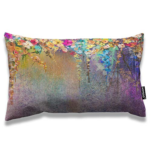 AOYEGO Floral Throw Pillow Cover 12x20 Inch Watercolor Painting Colorful Flowers Leaves Rectangle Pillow Cases Home Decorative Cotton Linen Cushion Cover for Bed Sofa
