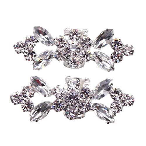 Vosarea Clip de Zapatos Desmontable de Diamantes de Imitación de Flor Color Plata para Fiesta Boda 2 Piezas
