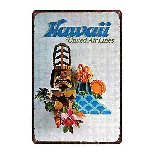 Retro Metal Sign Hawaii Beach Scenery Wall Poster Tin Sign Home Bar Cafe Garage Decoration Iron Plate 2
